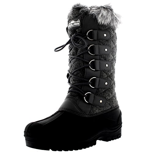 Womens Waterproof Tactical Mountain Walking Snow Knee Boots - Gray Textile - US8/EU39 - (Fur Trim Knee Boot)