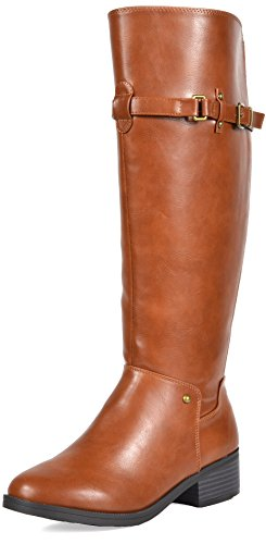 Calf Large Leather (TOETOS Women's Hazel Tan Knee High Riding Boots Wide Calf Size 8.5 M US)