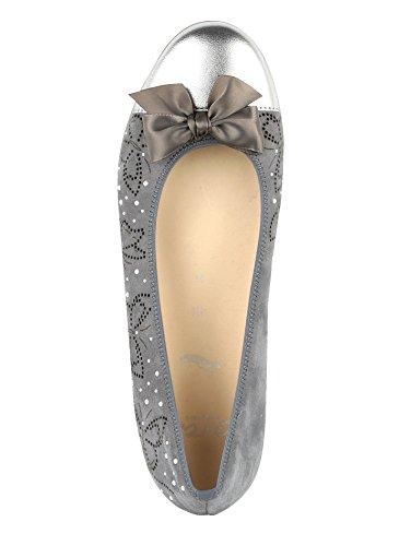 ara Damen Ballerina mit Schöner Perlenapplikation Grau