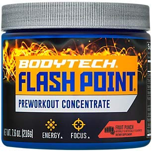 BodyTech Flash Point Pre Workout Concentrate for Energy, Focus Stamina, Fruit Punch (200 Grams Powder)