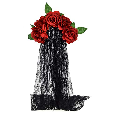 June Bloomy Day of the Dead Headpiece Rose Floral Crown Veil Halloween Costume Mexican Headband (Burgundy) -