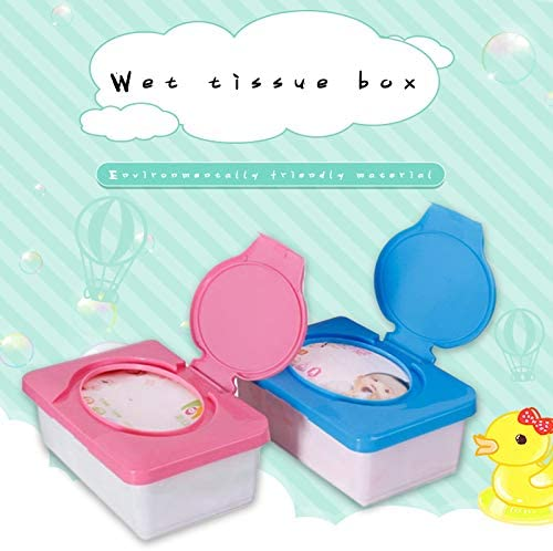 Fenghong Baby Wipes Dispenser Wet Tissue Box Cover Home Wipes Holder Keeps Wipes Fresh Non-Slip Blue Easy Open /& Close Wipe Container
