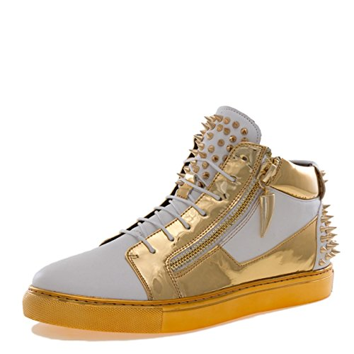 Jump J75 Men's Zack Round Toe Leather Lace-Up White 15 D US Men Mid-Top - Spike Metallic Collar