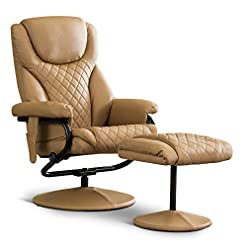 Living Room Mcombo Recliner with Ottoman, Reclining Chair with Massage, 360 Swivel Living Room Chair Faux Leather, 4901 (Cognac)