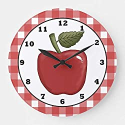 Moonluna Country Apple Cartoon Kitchen Wooden Wall Clock for Living Room Bedroom Kitchen Home Office Decoration 12 Inches