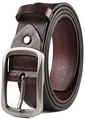 COW STAUNCH Mens Dress Belt,Full Grain Leather Belt,Single Prong Big Buckle - for Casual Jeans,Brown (coffee, 36-38inch) - Leather Jean Casual Belt