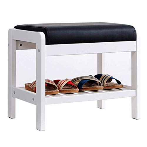 LNDDB Walnut Color/White Shoe Rack Bench Seat for Entrance Hall Door Enterway Wooden Storage Shelf Organizer with Cover Small Space (Color : A, Size : 65×34×42cm)