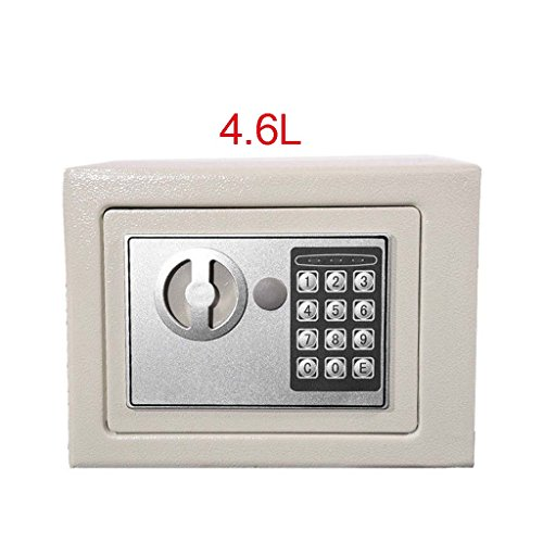 4.6L Digital Steel Safe Electronic Security Home Office Money Cash Safety Box, White