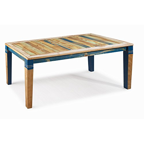 """Reclaimed Dining Table 55"""" Solid Wood Distressed Color"""