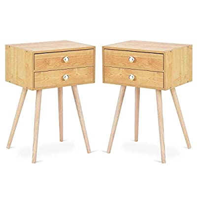 Giantex Nightstand W/2 Drawers for Bedroom Living Room Small Spaces Modern Home Furniture Simple Natural Legs Storage End Side Tables