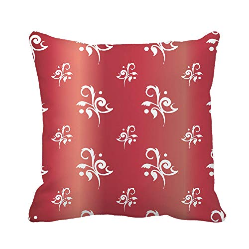 (Awowee Throw Pillow Cover Red Antique Floral Toile Rubies Baby Chic Feminine Fleur 16x16 Inches Pillowcase Home Decorative Square Pillow Case Cushion Cover )