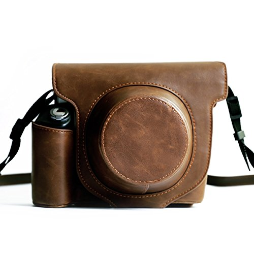 Fujifilm Instax Wide 300 Instant Film Camera Case with strap,Hellohelio Vintage Leatherette limited Edition groove Bag - Brown (Fuji Instax Wide Camera Case)