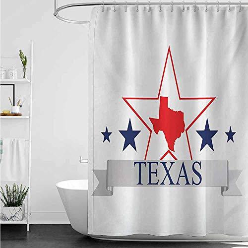 Shower Curtains for Bathroom Women Texas Star,San Antonio Dallas Houston Austin Map with Stars Pattern USA,Navy Blue Vermilion Pale Grey W69 x L72,Shower Curtain for Shower stall (Show Me A Map Of Austin Texas)