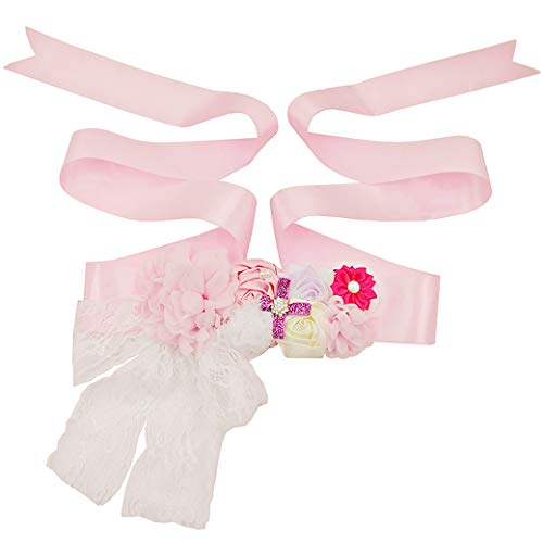 Lujuny Ribbon Floral Maternity Sash Belt - Lace Bow Flower Satin Waist Band for Wedding Baby Shower (PINK WHITE)