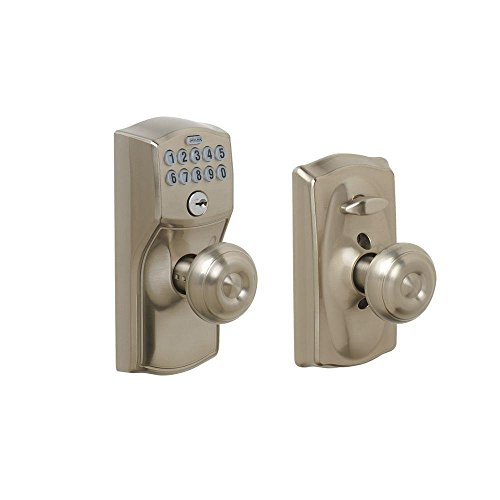 (Schlage FE595 CAM 619 GEO Camelot Keypad Entry with Flex-Lock and Georgian Style Knobs, Satin)