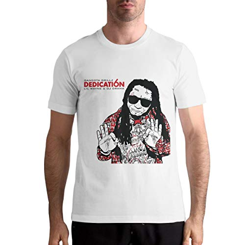 PatriciaMRivas Mens Lil Wayne Causal Shirt White Summer Custom Short Sleeve Tee Top L