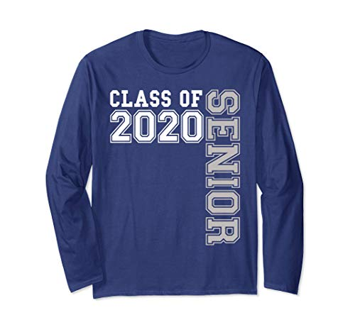 Class of 2020 Senior Blue and White Shirt High School Gift Long Sleeve T-Shirt