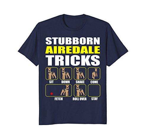 Mens Stubborn Airedale Tricks T-shirt Large Navy