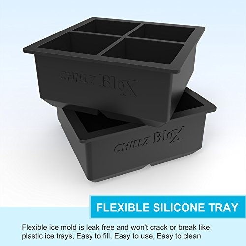 Chillz-Silicone-Ice-Cube-Trays-Large-Ice-Cube-Tray-Set-for-Whiskey-with-8-Giant-Ice-Cubes-Molds-Flexible-Rubber-Plastic-Stackable-Herb-Freezer-Tray-Storage-2-Pc