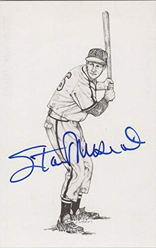 Stan Musial HOF Signed 1989 Thumper Postcard Auto with B&E Hologram - MLB Cut Signatures from Sports Memorabilia