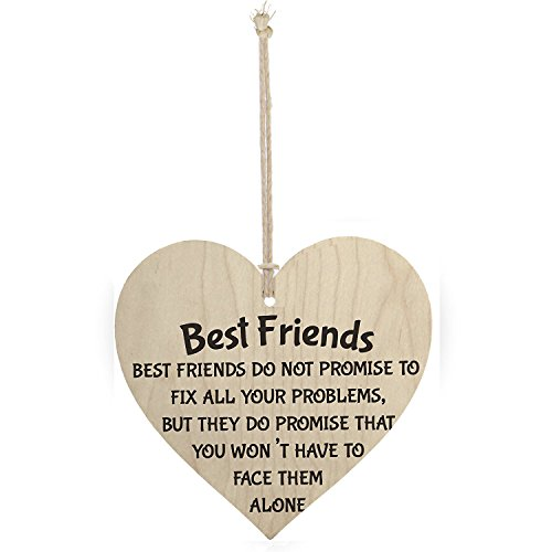 Meijiafei Best Friends Face Problems Together Wooden Hanging Heart Plaque Friendship Sign 4