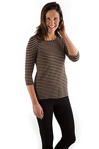 KBT1120 Extra Small Black/Toffee Stripe BambooDreams 'Kai' 3/4 Sleeve Boatneck (Toffee Stripe)