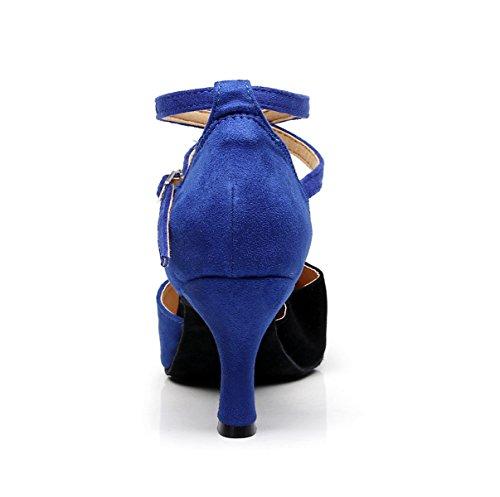 EU35 JSHOE Shoes Jazz Our36 Chacha Baile Para Latinos 5cm De heeled7 UK4 Mujeres Blue Zapatos Dance Samba Moderno awTqHazr4