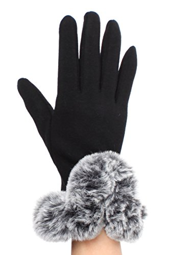 Fur Cuff Gloves - LL Womens Plush Faux Fur Cuff Black Smart Phone Gloves Small Medium