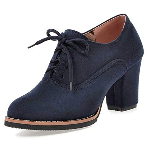 (Womens Pumps Oxfords Fashion Lace up Dress Shoes Chunky Mid Heels Ankle Boots)