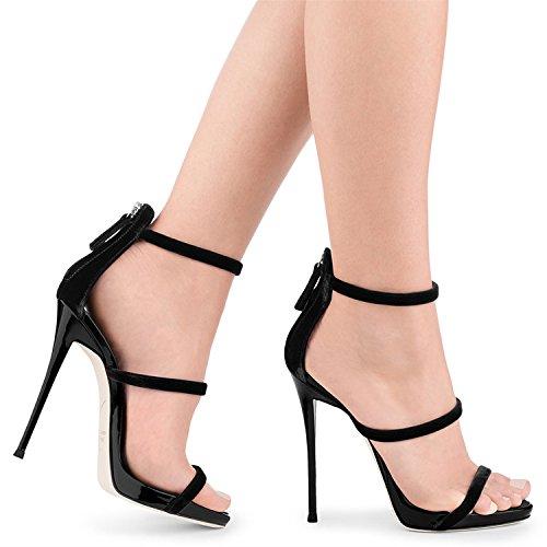 Fino de Carrera la Gran Sandalias Negro Primavera PU Señoras Tacón tacón Sandalias 34 Mujer de Boda Zapatos Oficina Verano de de la tamaño Zapatos Vestido de Aguja Negro tamaño Color de ZTS7Bqw1