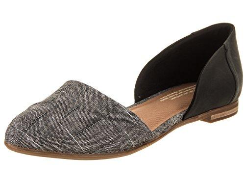 TOMS Women's Jutti Dorsay Denim Chambray Flat, Size: 9.5 B(M) US, Color: Black ()