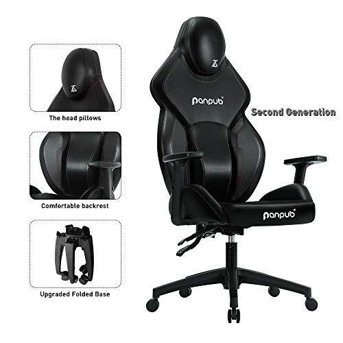 Panpub Gaming Chair, Ergonomic Patented Design Racing Chair,Office Desk Chair with High Back, Computer Game Chair with Adjustable Height,Angle and Armrest Height, Foldable Legs