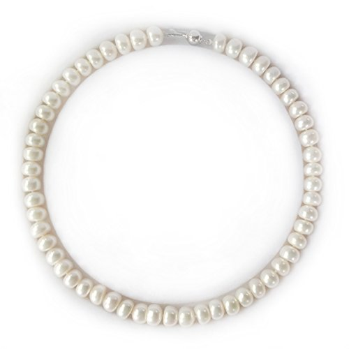 Freshwater Cultured Pearl Necklace with Sterling Silver Ball Clasp(9.5-10mm),18'' by Lumin Plus LLC