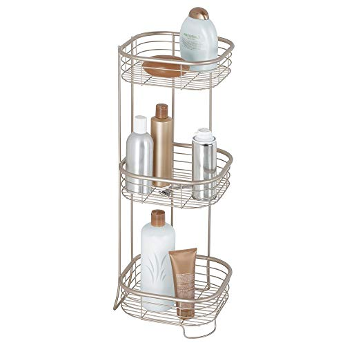 mDesign Square Metal Bathroom Shelf Unit - Free Standing Vertical Storage for Organizing and Storing Hand Towels, Body Lotion, Facial Tissues, Bath Salts - 3 Shelves, Steel Wire - Satin