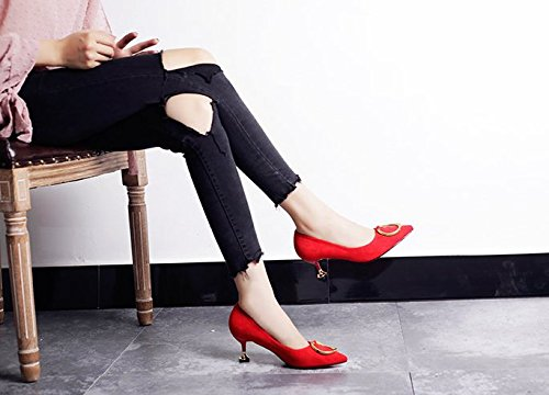 The The Fine MDRW Cat 37 Shoes Pointed Spring Elegant Work 6Cm With Lady Shoes Match Leisure Shallow All Heeled With Red Mouth High wwYqRUp
