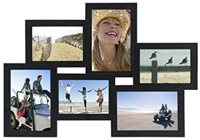 "Malden International Designs Crossroads 3D 10 Opening 3.5x5"" Collage Black Picture Frames"