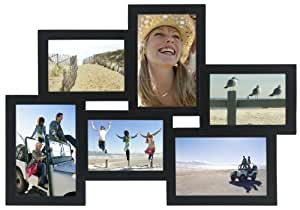 """Malden International Designs Crossroads 6 Opening for 3.5x5 & 4x6"""" Puzzle Collage Black Picture Frame"""