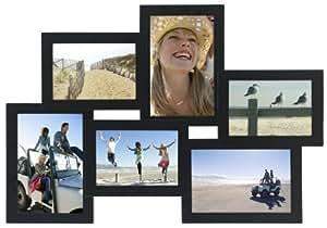 Malden International Designs Crossroads Puzzle Collage Picture Frame, 6 Option, 3-3.5x5 & 3-4x6, Black