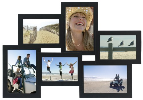 Malden International Designs Crossroads Puzzle Collage Picture Frame, 6 Option, 3-3.5x5 & 3-4x6, Black (Frames Photo 3x5)