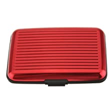 Business Id Credit Card Holder Wallet Aluminum Metal Case Box (Red)