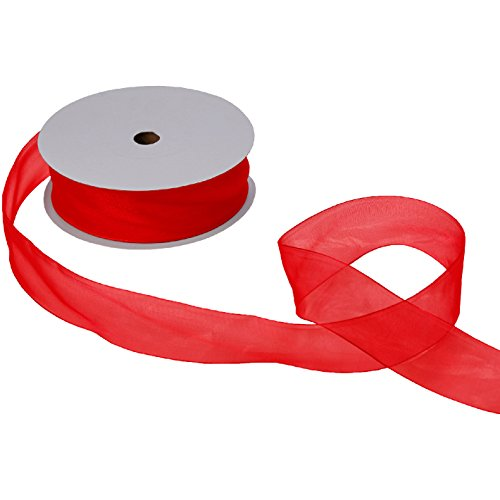 Jillson Roberts Bulk 1-1/2-Inch Sheer Ribbon Available in 16 Colors, Red, 100 Yard Spool (BFR3209)