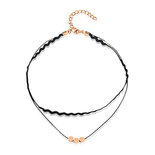 LOHOME Fashion Necklaces Black Double Leather Tassel Stars&Moon Charm Choker for Womens