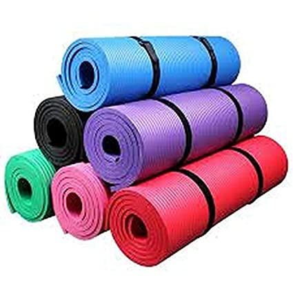 LAKCY Large Exercise Women and Men Strap Yoga mat- 6mm with Anti Slip and Sports, Fitness & Outdoors,Exercise Workout for Gym for Exercise .{Color-Multi}Size-6mm} - Yoga Mat