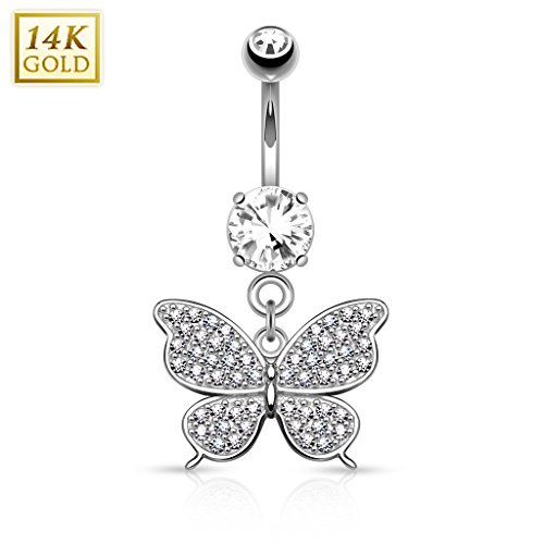 West Coast Jewelry {White Gold} 14Kt Gold Butterfly Dangle with Micro Pave CZ Belly Button Navel Ring - 14GA (Sold Ind) (Ring Gold Butterfly 14kt Belly)