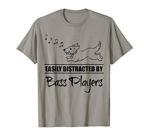 Running Dog Easily Distracted by Bass Players Music Notes T-Shirt
