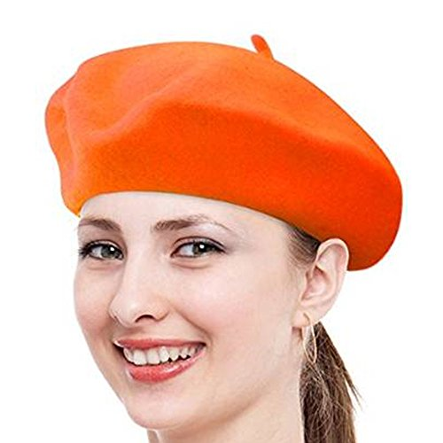 FuzzyGreen Classic French Beret, Orange Solid Color French Wool Beret Cap - 2017 Newest for $<!--$4.70-->