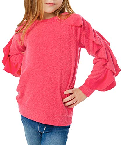 Blibea Girls Big Girls Fashion Tops Casual Tunic Tops Ruffled Long Sleeve Pullover Tops Shirts Blouse Size 8 9 Rose Red
