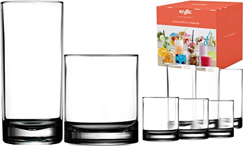 Plastic Tumbler Cups Drinking Glasses - Acrylic Highball Tumblers Set of 8 (4x16oz & 4x14oz) Clear Reusable Kitchen Drinkware Dishwasher Safe Bpa Free Hard Rocks Glass Drink Wine Water Juice Cups