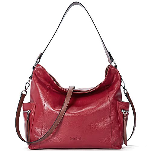 BOSTANTEN Genuine Leather Hobo Handbags Designer Shoulder Tote Purses Crossbody Large Bag for Women Red