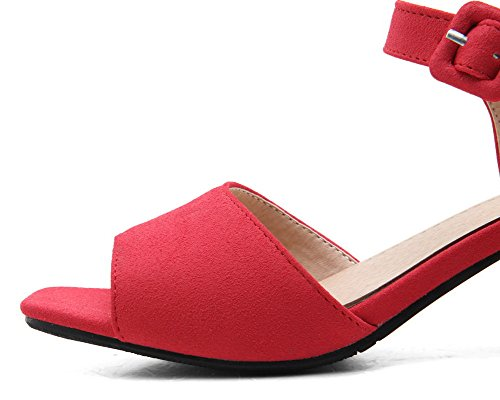Women Sandals Open Kitten Materials Blend Buckle VogueZone009 Solid Toe Red Heels 1xdwTqqH